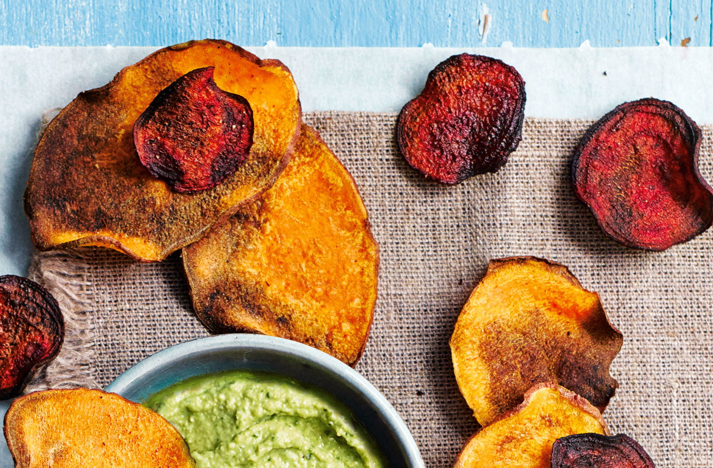 Baked beetroot and sweet potato crisps recipe