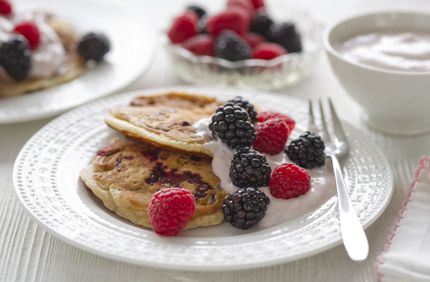 Healthy Living Blackberry Pancakes With Raspberry Cream