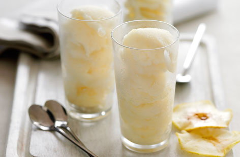 Bramley sorbet with apple crisps recipe
