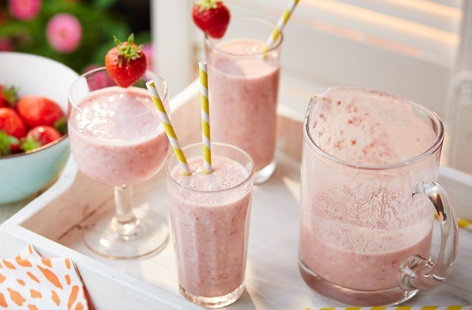 This milkshake-style, non-alcoholic drink made with juicy strawberries and creamy coconut is perfect for summer. Serve it in pretty glasses at a BBQ or simply whip up as a refreshing breakfast smoothie.
