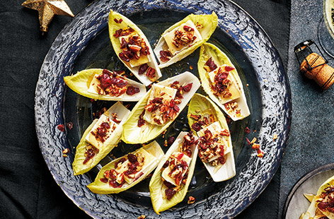 For an easy Christmas canapé that's ready in less than five minutes, check out these Brie and cranberry chicory cups