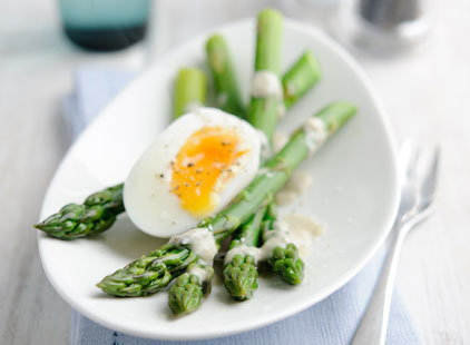 British asparagus with soft egg & anchovy dressing (h)