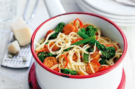 Broccoli chilli and cherry tomato spaghetti THUMB