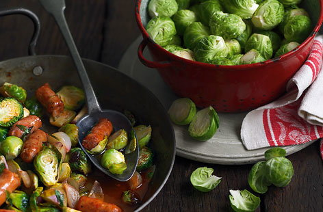 Roasted Brussels sprouts with chorizo recipe