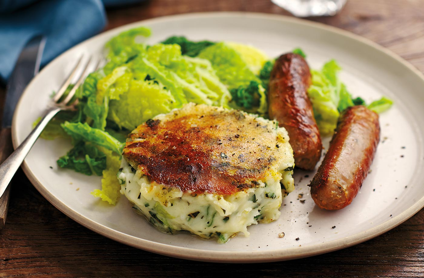 Bubble and squeak cakes with sausages recipe