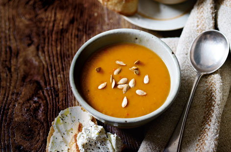 Butternut, chilli and cumin soup with goat