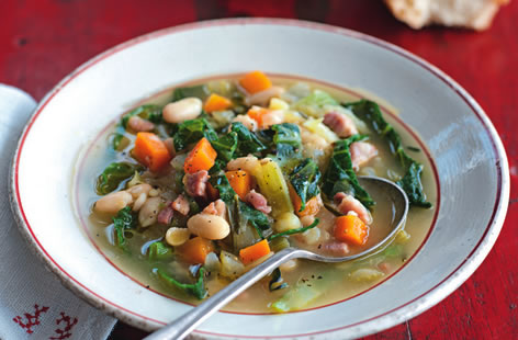 Cabbage, bean and pancetta soup