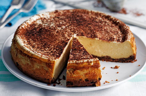 A brilliant twist on the classic baked cheesecake, made with cream cheese laced with coffee on a base of chocolate digestives