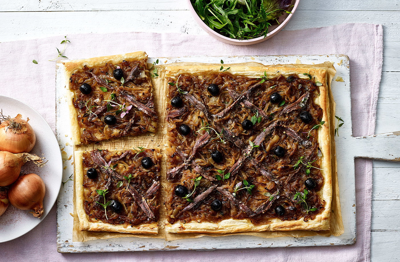 Caramelised onion, anchovy and thyme tart recipe