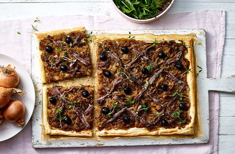 Caramelised onion, anchovy and thyme tart