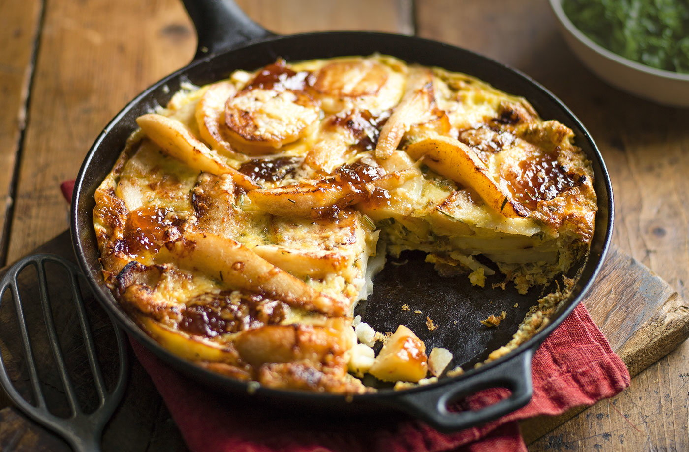 Caramelised pear and onion frittata recipe