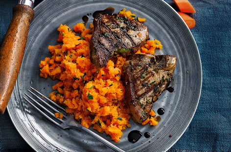 This carrot and tarragon mash has a vibrant colour and flavour, complementing the lamb chops to update a British classicThis carrot and tarragon mash has a vibrant colour and flavour, which complements classic lamb chops perfectly