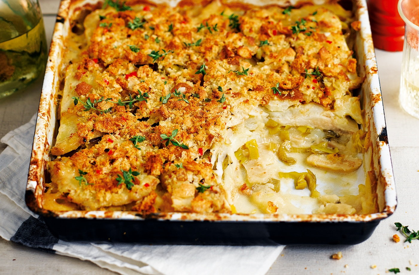 Celeriac, leek and thyme bake recipe