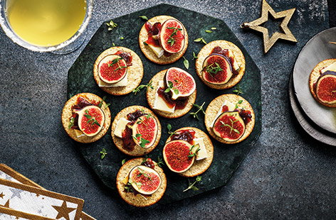 Channel all of the flavours of a classic cheeseboard in with these festive Brie canapés