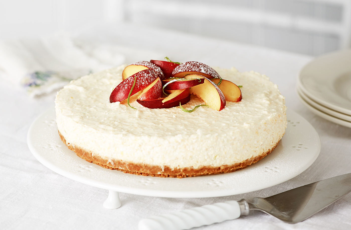 Nectarine and ginger biscuit cheesecake recipe
