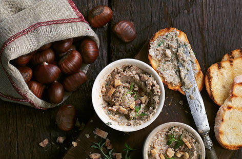 A vegetarian pâté is surely the perfect starter for a hearty autumn feast. Made with real chestnuts, you'll first need to score a cross in each of them and roast in the oven until they are sweet and soft. Mushrooms, garlic, sherry, thyme and cream complete this recipe, packed with flavour.