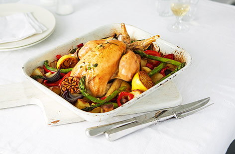Perfect roast chicken with summer roasted veg