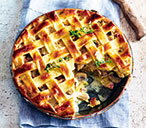 Chicken, pancetta and mushroom pie