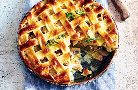 For an exciting family dinner try this rustic chicken pie. Shredded chicken pairs perfectly with salty pancetta, succulent mushrooms and crème fraîche for a delicious dish