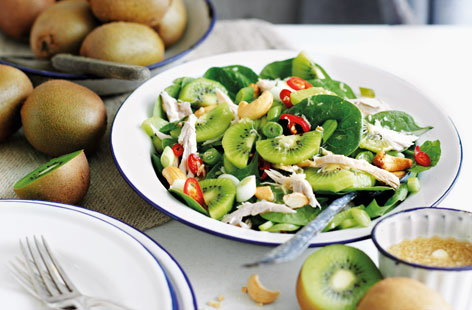 Chicken salad with kiwi, cashews and lime and ginger dressing(t)