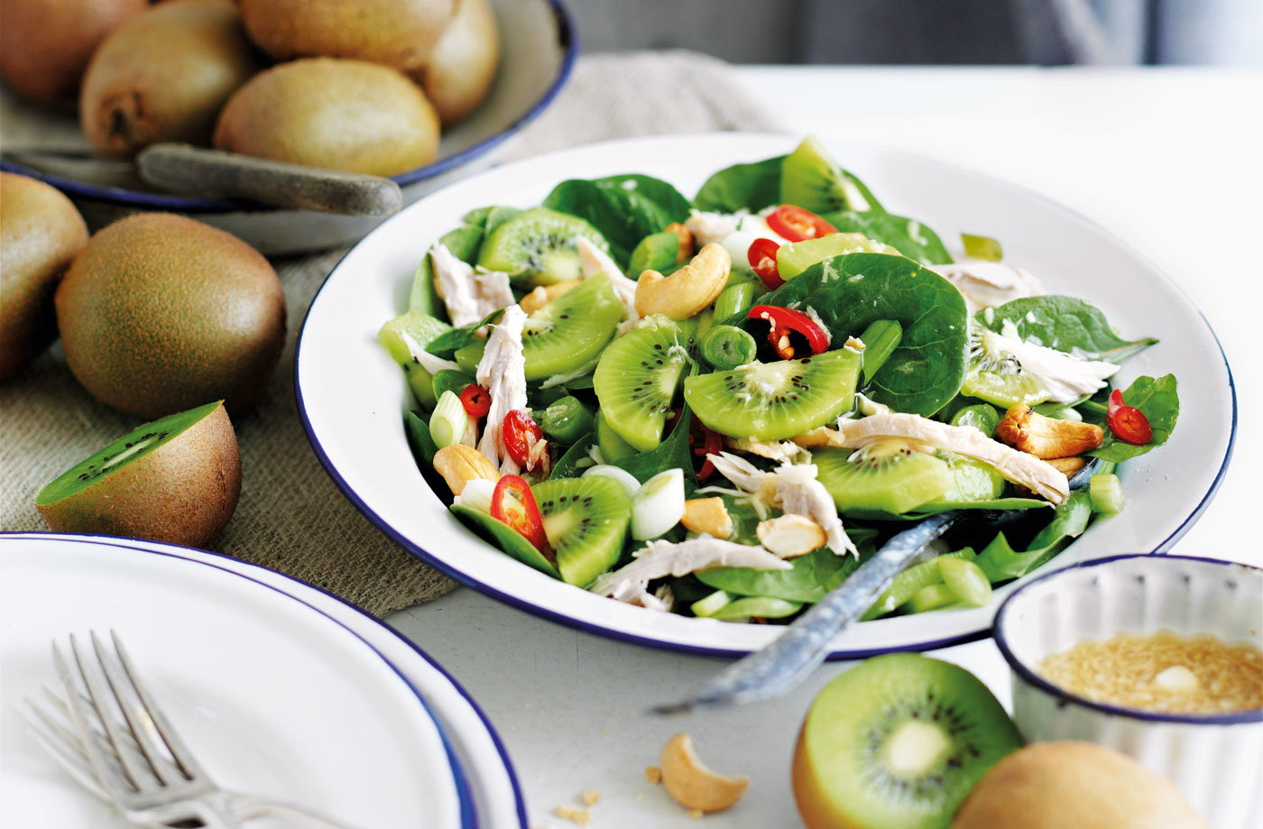 Chicken salad with kiwi and cashews recipe