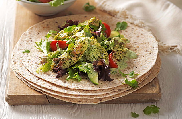 Friday: Green chicken tikka wraps