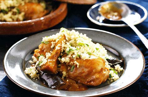Chicken is a low-fat protein source, while couscous is a healthy source of carbs