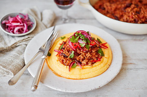 Mexican chilli beef with polenta