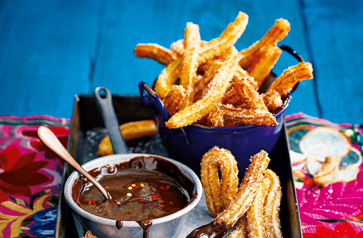 Churros with chilli-chocolate dip recipe