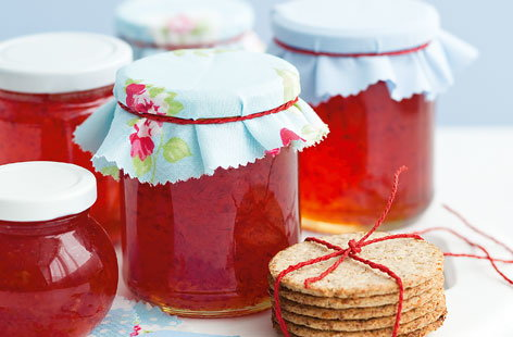 You'll need just five ingredients to make these bright and ruby-pink jars of chilli jelly: pectin, sugar, vinegar, red pepper, and chillis. Using scotch bonnets will give this excellent accompaniment to Cheddar cheese and crackers real fire power.