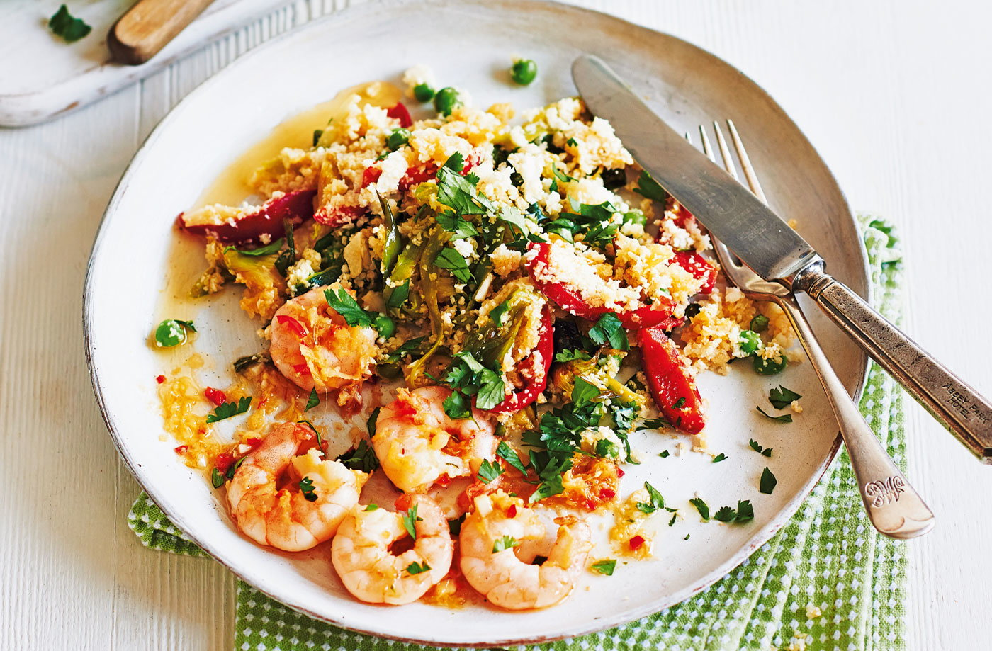 Prawn recipes seafood recipes tesco real food garlic and chilli prawns with cauliflower rice forumfinder Choice Image