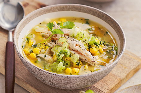 The chicken comes before the egg in this Chinese-inspired chicken and sweetcorn soup recipe. Perfect as a starter before a proper feast, this deceptively simple soup is as moreish as it gets. Dropping in beaten eggs towards the finish is a great kitchen hack.