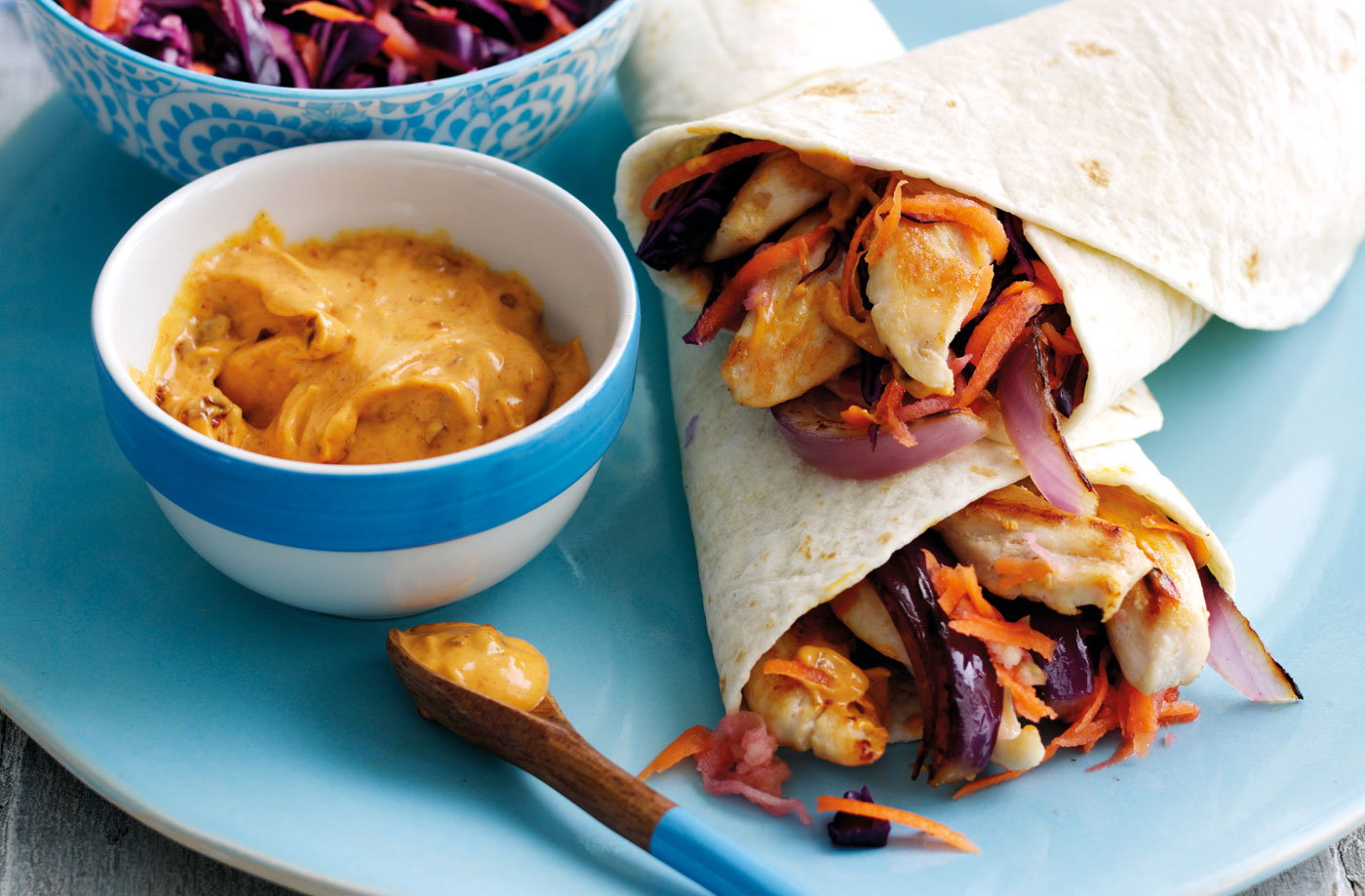 Chipotle chicken and winter slaw wraps recipe