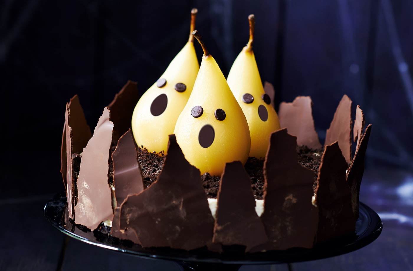 Rich Chocolate Cheesecake With Ghostly Pears Tesco Real Food