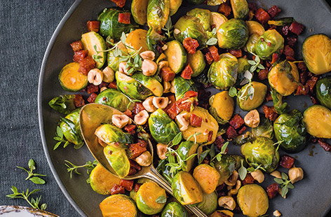 Chorizo and hazelnut sprouts