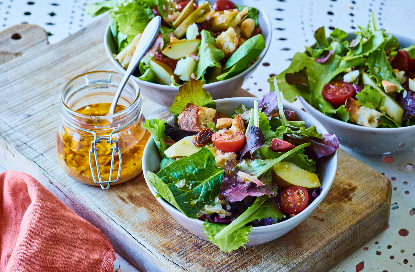 Chorizo, pear and Manchego salad recipe