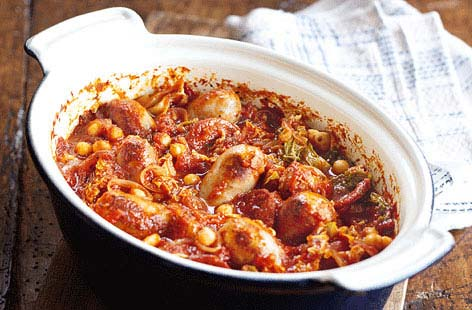 Chorizo, cabbage and chickpea stew recipe