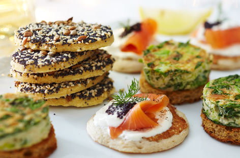 Gluten-free blinis with smoked salmon