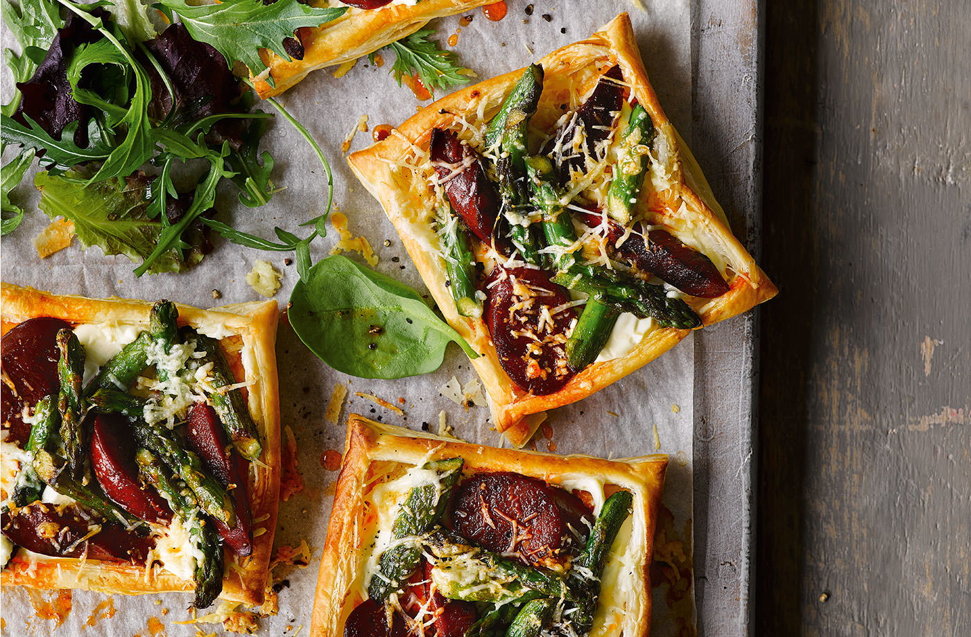Chorizo, asparagus and manchego tarts recipe