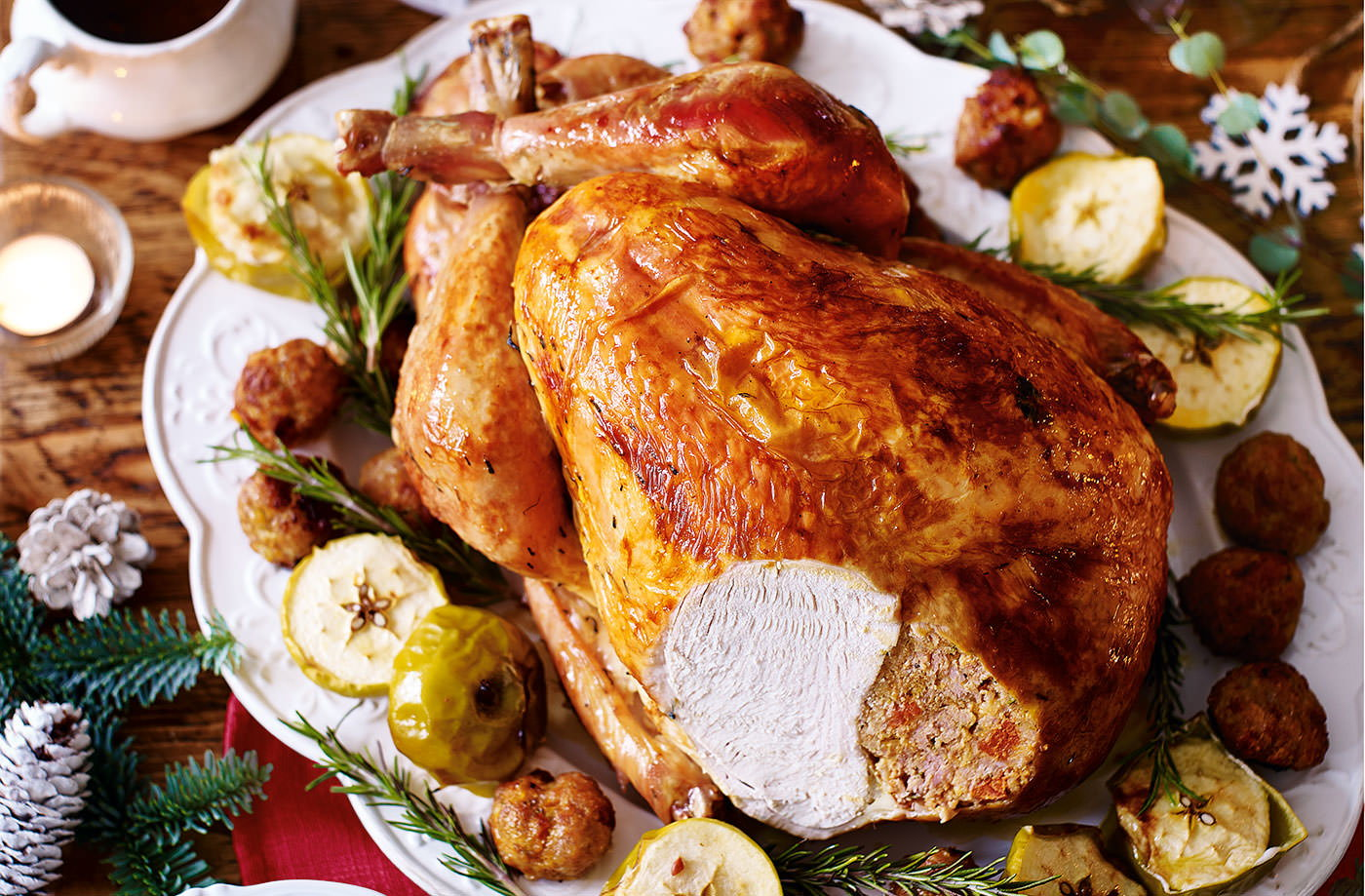 Turkey with chorizo and rosemary stuffing and cider gravy recipe