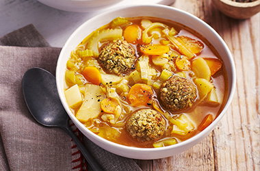 Chunky veg soup with stuffing dumplings