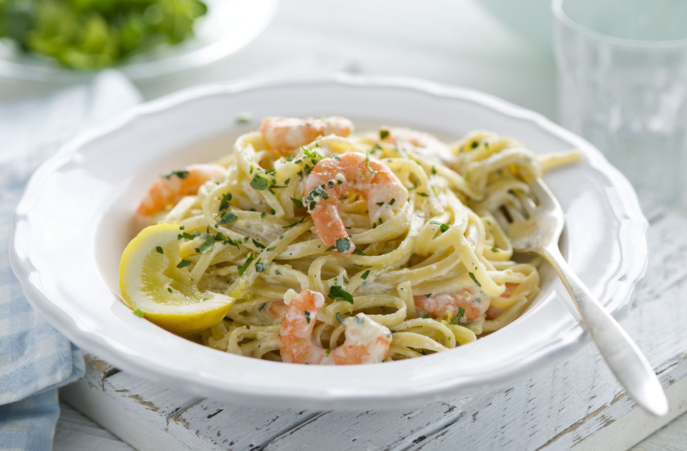 Healthy living citrus prawn pasta tesco real food for Prawn and spaghetti recipe