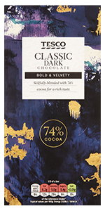 Tesco Classic 74% Dark ChocolateMade with 74% cocoa solids, for a gentle, woody flavour
