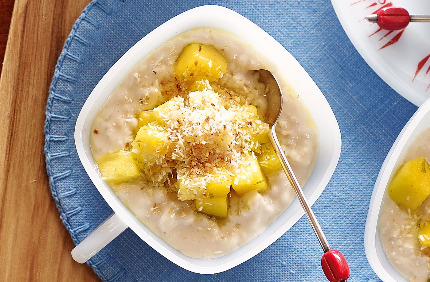 Coconut rice pudding with pineapple and mango recipe