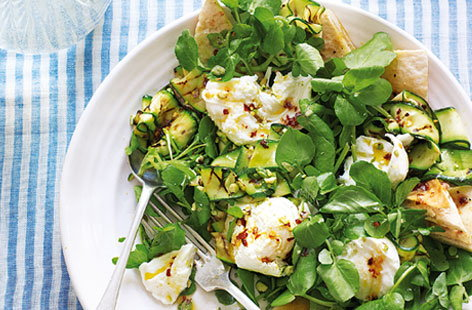 Courgette and mozzarella salad with pistachio vinaigrette HERO