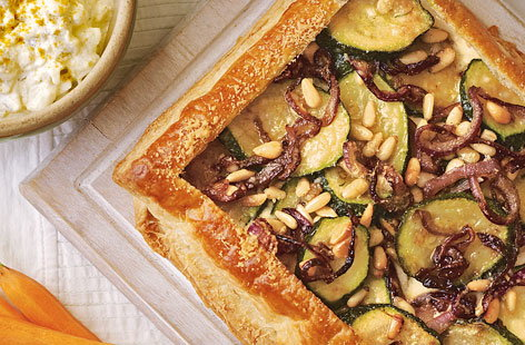Courgette and red onion tart with pine nuts HERO