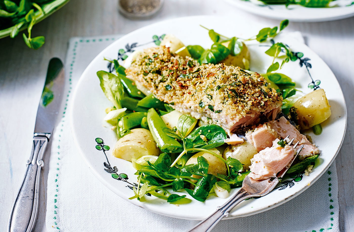 Couscous-crusted salmon with pea and potato salad