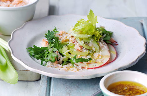 Crab, celery and apple salad with vinaigrette  recipe