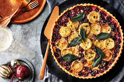 This cranberry and goat's cheese tart recipe is the perfect party food to feed a crowd