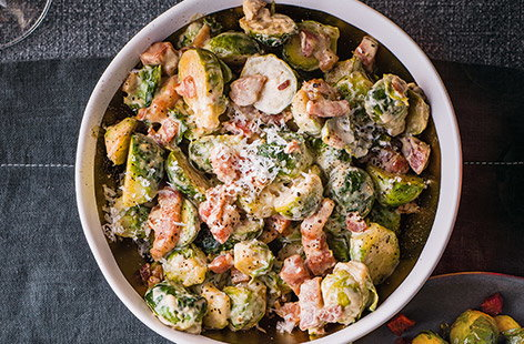 Even sprout-haters won't be able to resist this creamy sprout recipe with smoky bacon and Parmesan